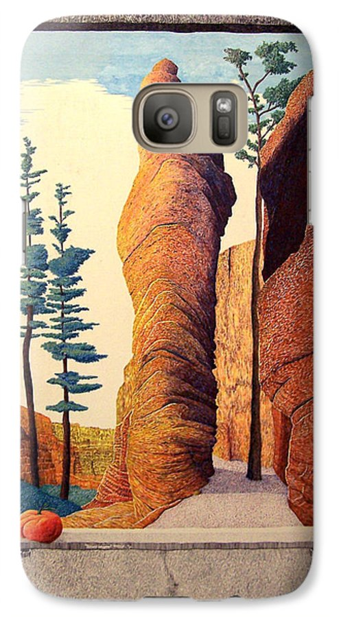 Landscape Galaxy S7 Case featuring the painting Reared Window by A Robert Malcom