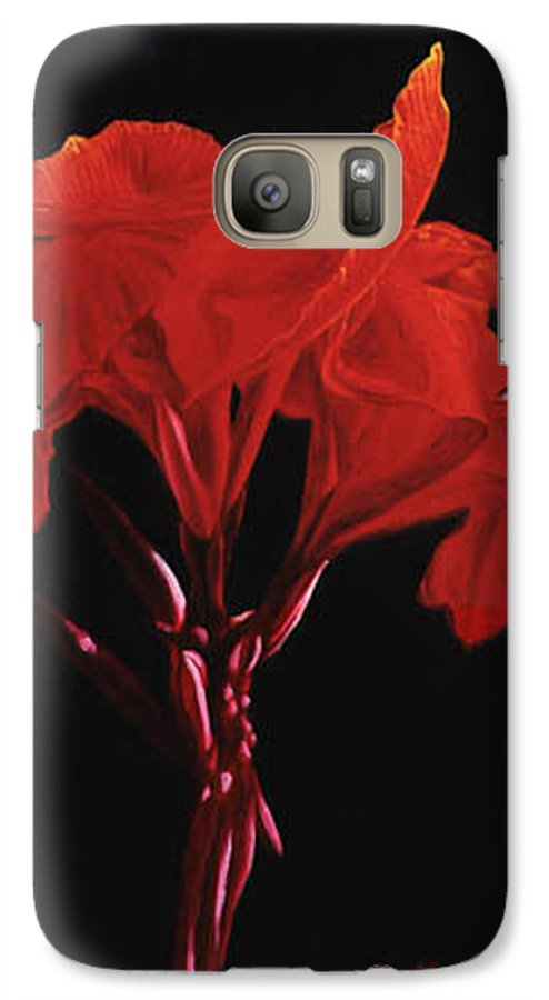 Floral Galaxy S7 Case featuring the painting Red Canna by Gary Hernandez