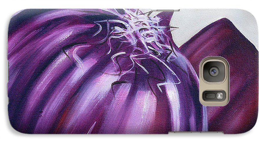 Onion Galaxy S7 Case featuring the painting Red Onion by Ilse Kleyn