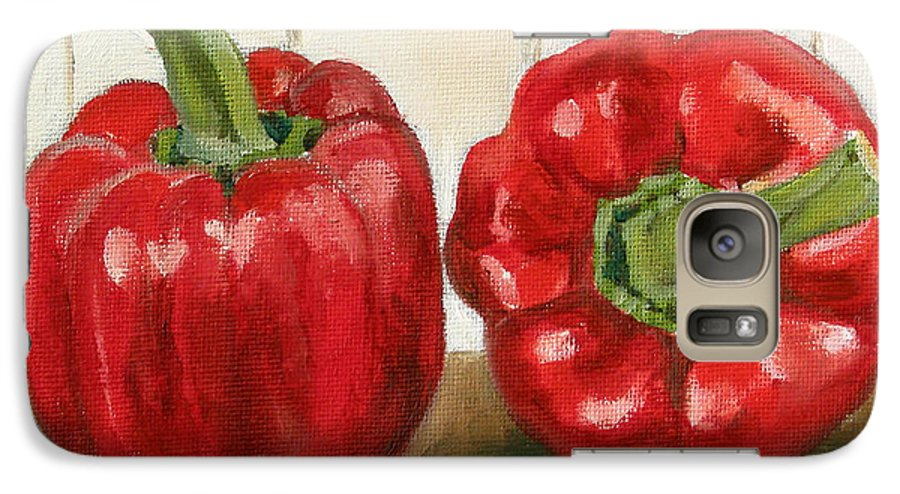 Food Galaxy S7 Case featuring the painting Red Pepper by Sarah Lynch