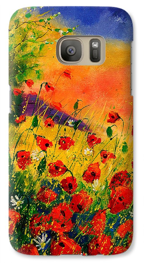 Poppies Galaxy S7 Case featuring the painting Red Poppies 45 by Pol Ledent