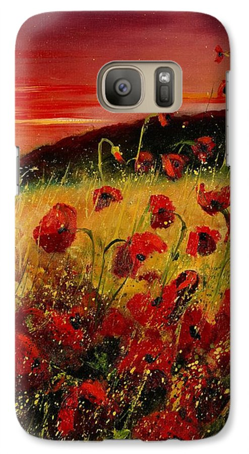Poppies Galaxy S7 Case featuring the painting Red Poppies And Sunset by Pol Ledent