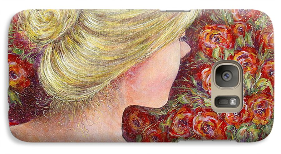 Female Galaxy S7 Case featuring the painting Red Scented Roses by Natalie Holland