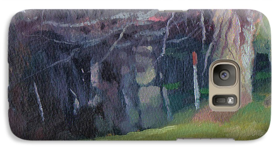 Landscape Galaxy S7 Case featuring the painting Red Top Fence Post by John L Campbell