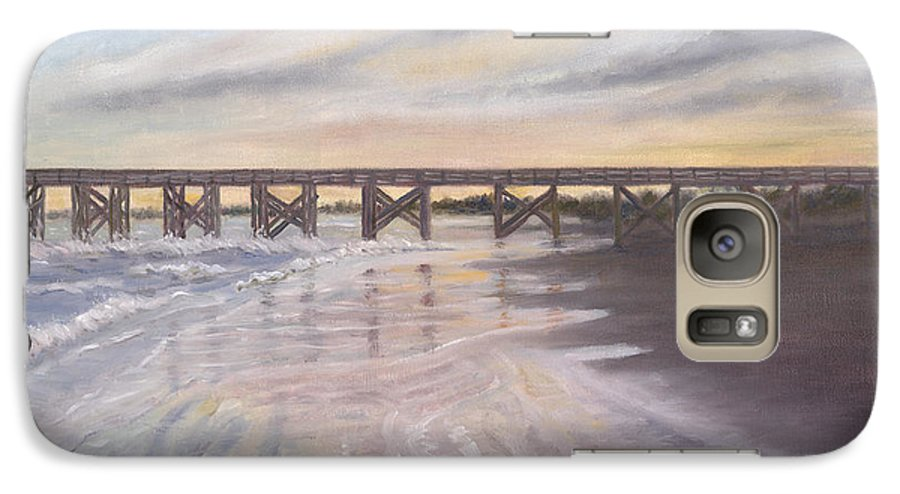 Beach; Pier; Low Country Galaxy S7 Case featuring the painting Reflections by Ben Kiger