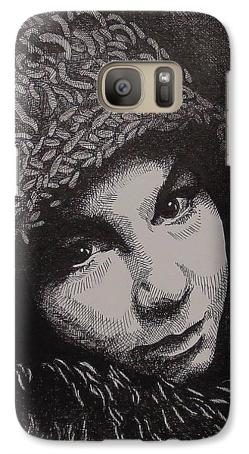 Portraiture Galaxy S7 Case featuring the drawing Rena by Denis Gloudeman