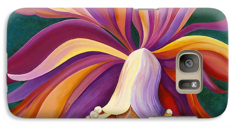 Orchid Galaxy S7 Case featuring the painting Ribbon Orchid by Carol Sabo