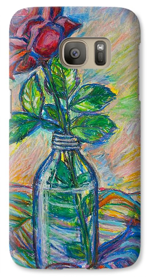 Still Life Galaxy S7 Case featuring the painting Rose In A Bottle by Kendall Kessler