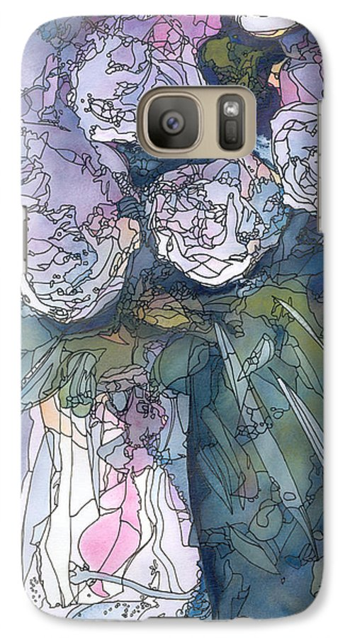 Roses Galaxy S7 Case featuring the painting Roses In A Vase by Christina Rahm Galanis