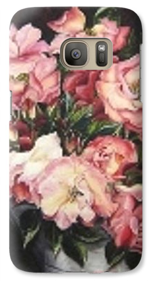 Pink Roses Floral Flowers Galaxy S7 Case featuring the painting Roses In A Watercan by Karin Dawn Kelshall- Best