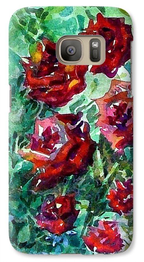 Rose Galaxy S7 Case featuring the painting Roses by Mindy Newman