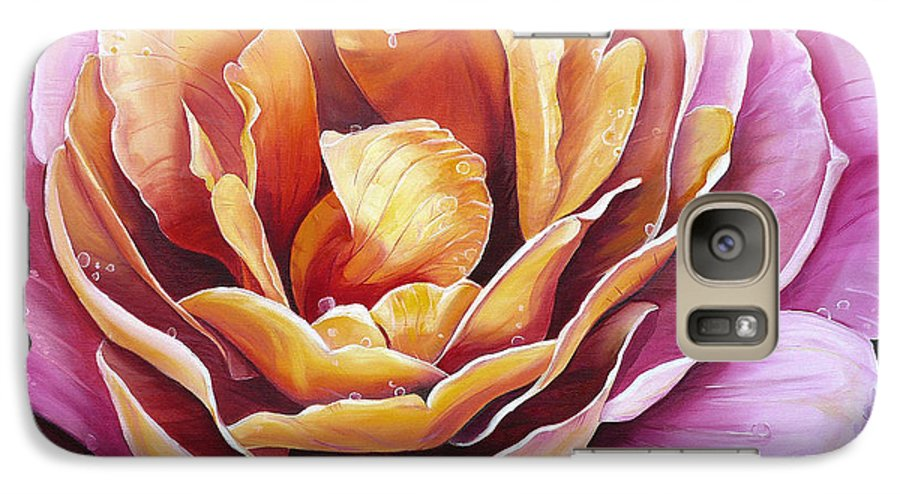 Rose Painting Pink Yellow Floral Painting Flower Bloom Botanical Painting Botanical Painting Galaxy S7 Case featuring the painting Rosy Dew by Karin Dawn Kelshall- Best