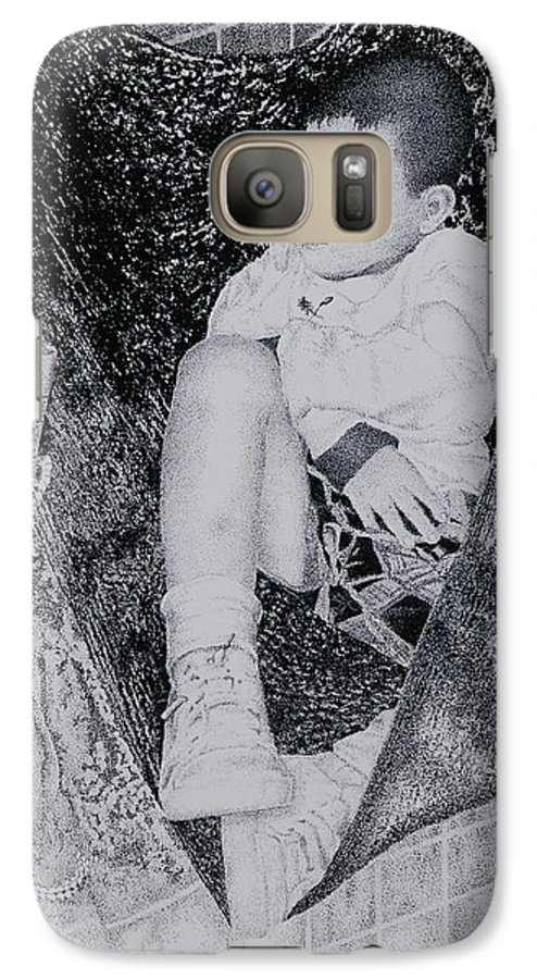 Tot Child Sleeping Boy Galaxy S7 Case featuring the painting Safety Net by Tony Ruggiero