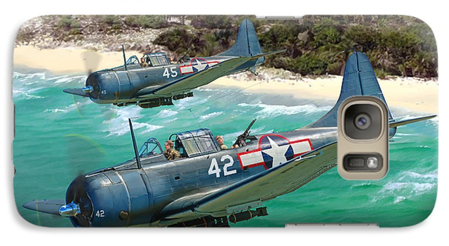Aviation Galaxy S7 Case featuring the painting Sbd Dauntless by Mark Karvon