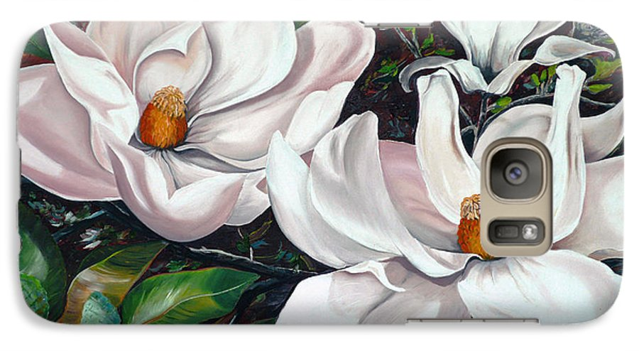 Magnolia Painting Flower Painting Botanical Painting Floral Painting Botanical Bloom Magnolia Flower White Flower Greeting Card Painting Galaxy S7 Case featuring the painting Scent Of The South. by Karin Dawn Kelshall- Best