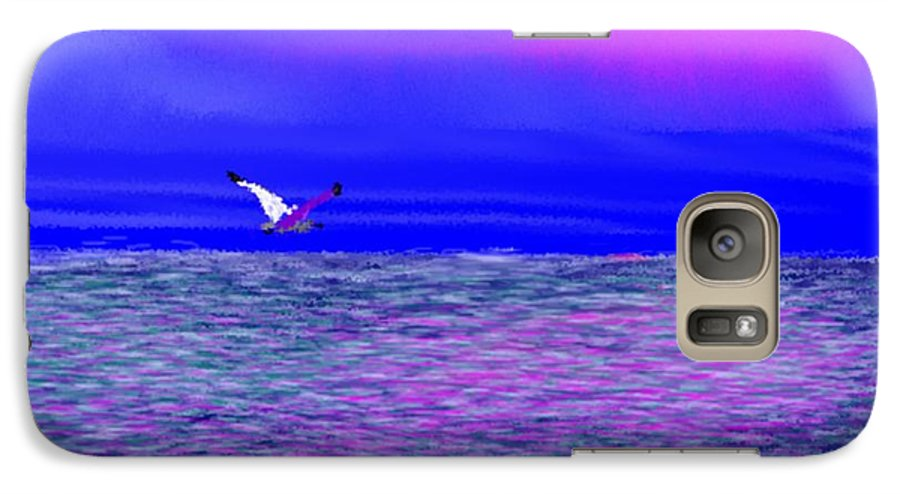 Evening.sky.clouds.sunrays.sun.sunset.sea.waves.colors.blue.pink.red.dark Blue Galaxy S7 Case featuring the digital art Sea. Last Rays Of Sun by Dr Loifer Vladimir