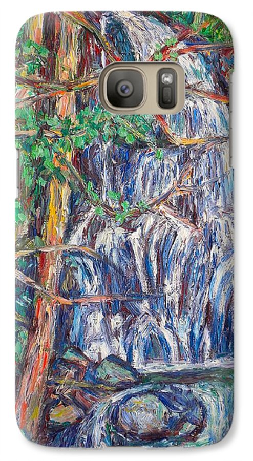 Waterfall Galaxy S7 Case featuring the painting Secluded Waterfall by Kendall Kessler