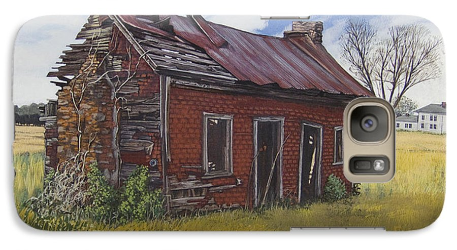 Landscape Galaxy S7 Case featuring the painting Sharecroppers Shack by Peter Muzyka