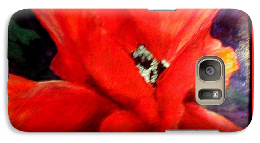 Floral Galaxy S7 Case featuring the painting She Wore Red Ruffles by Gail Kirtz