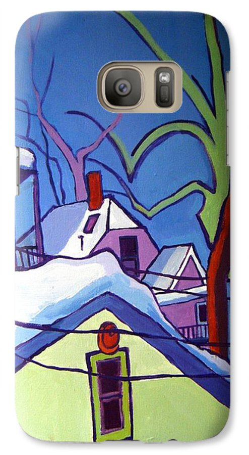 Buildings Galaxy S7 Case featuring the painting Sheffield Winter by Debra Bretton Robinson