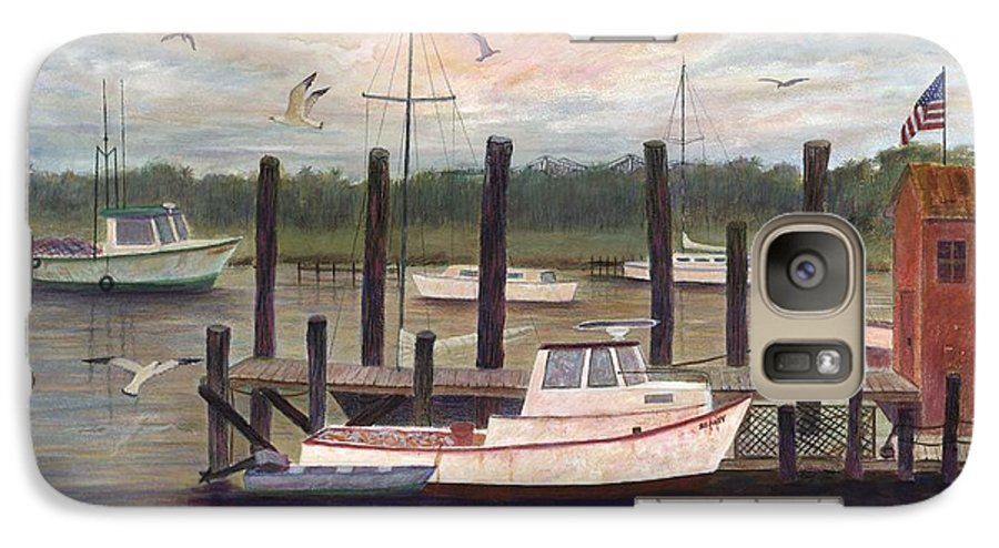 Charleston; Boats; Fishing Dock; Water Galaxy S7 Case featuring the painting Shem Creek by Ben Kiger