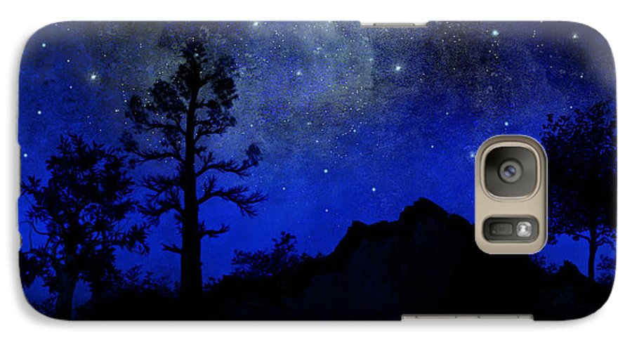Sierra Silhouette Galaxy S7 Case featuring the painting Sierra Silhouette Wall Mural by Frank Wilson