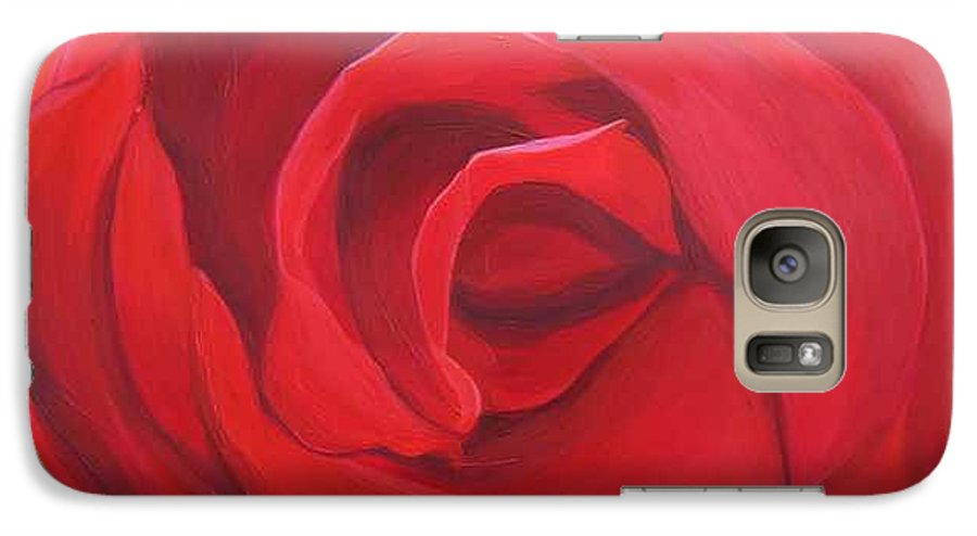 Rose In The Italian Countryside Galaxy S7 Case featuring the painting So Red The Rose by Hunter Jay