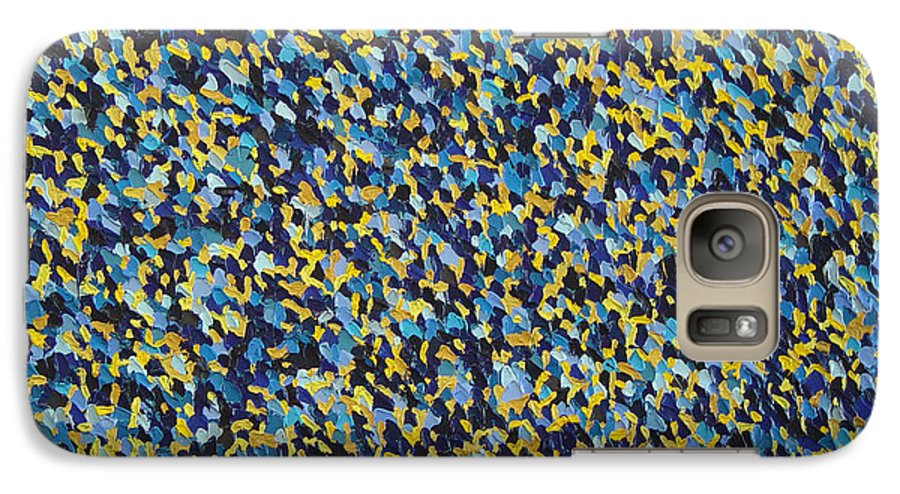 Abstract Galaxy S7 Case featuring the painting Soft Blue With Yellow by Dean Triolo