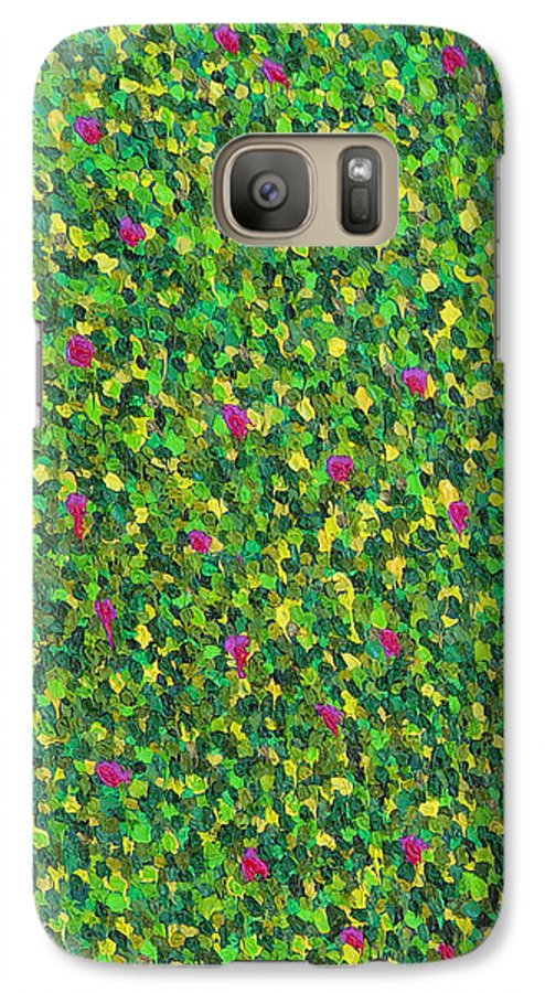Abstract Galaxy S7 Case featuring the painting Soft Green With Pink by Dean Triolo