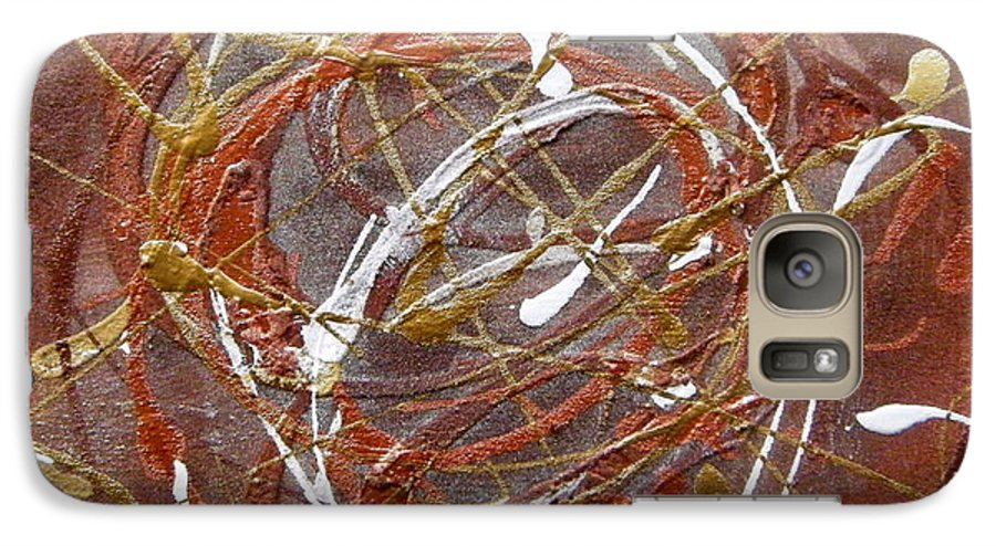 Bronze Galaxy S7 Case featuring the painting Solaris One by Holly Picano