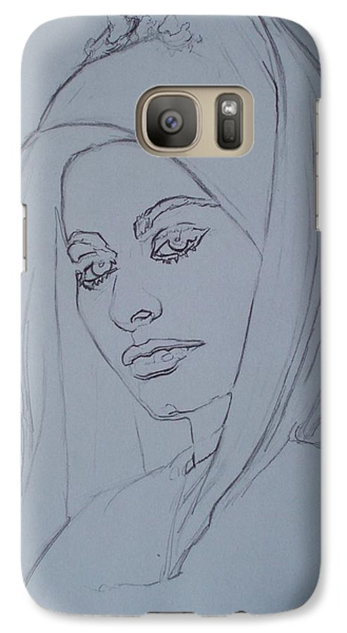 Woman Galaxy S7 Case featuring the drawing Sophia Loren In Headdress by Sean Connolly