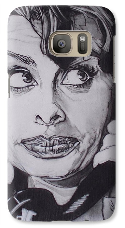 Charcoal;icon;actress;diva;italian;cat Eyes;beautiful;cute;adorable Galaxy S7 Case featuring the drawing Sophia Loren Telephones by Sean Connolly