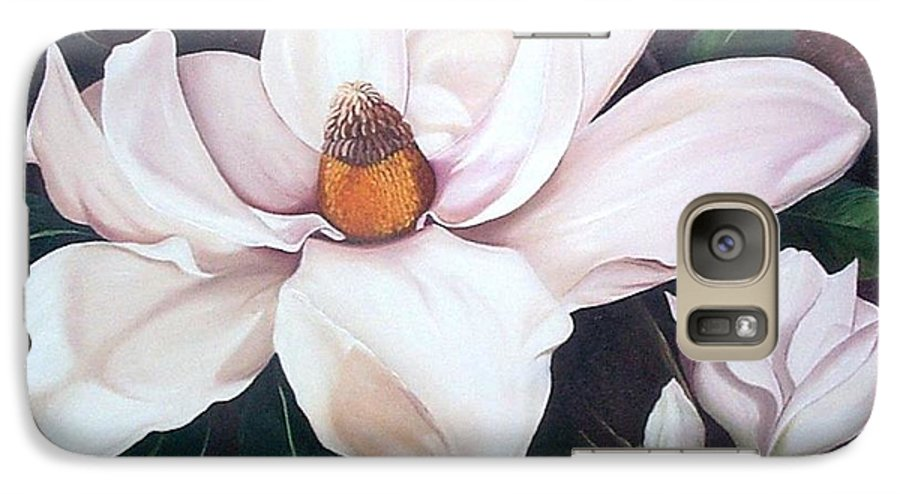 Magnolia Southern Bloom Floral Botanical White Galaxy S7 Case featuring the painting Southern Beauty by Karin Dawn Kelshall- Best