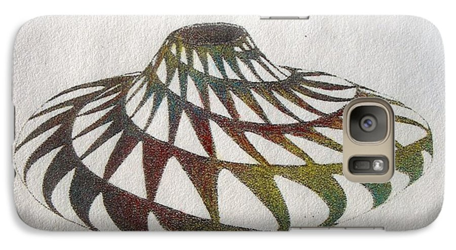 Pottery Southwest Rainbow American Indian Desert Galaxy S7 Case featuring the painting Southwest II by Tony Ruggiero