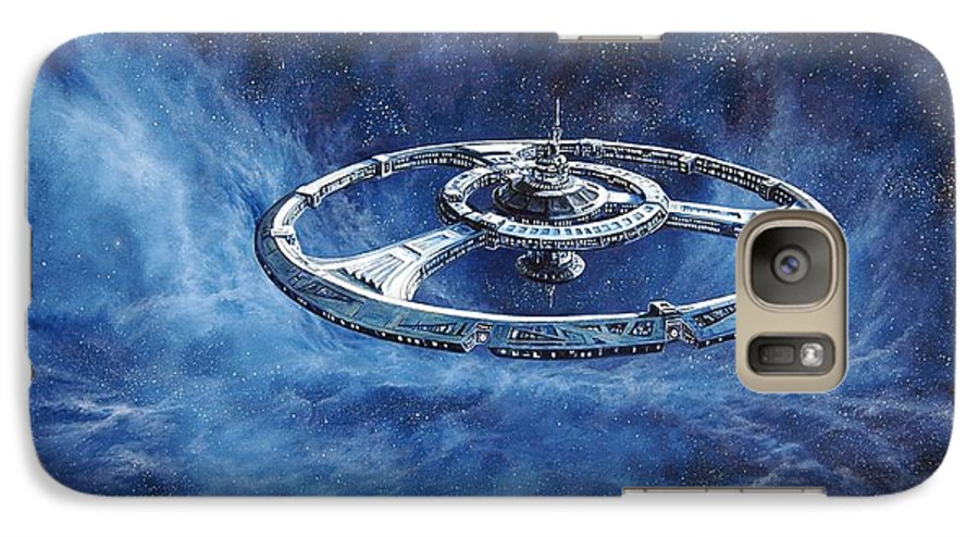 Sci-fi Galaxy S7 Case featuring the painting Deep Space Eight Station Of The Future by Murphy Elliott