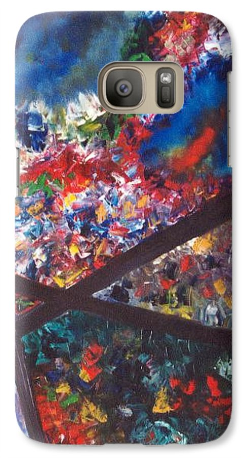 Abstract Galaxy S7 Case featuring the painting Spectral Chaos by Micah Guenther