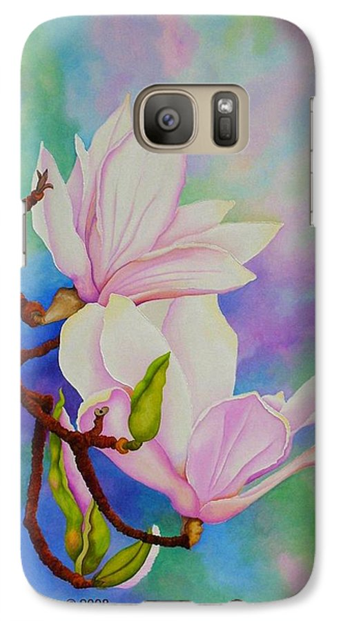 Pastels Galaxy S7 Case featuring the painting Spring Magnolia by Carol Sabo