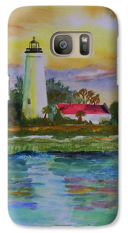 Landscape Galaxy S7 Case featuring the painting St. Marks Lighthouse-2 by Warren Thompson