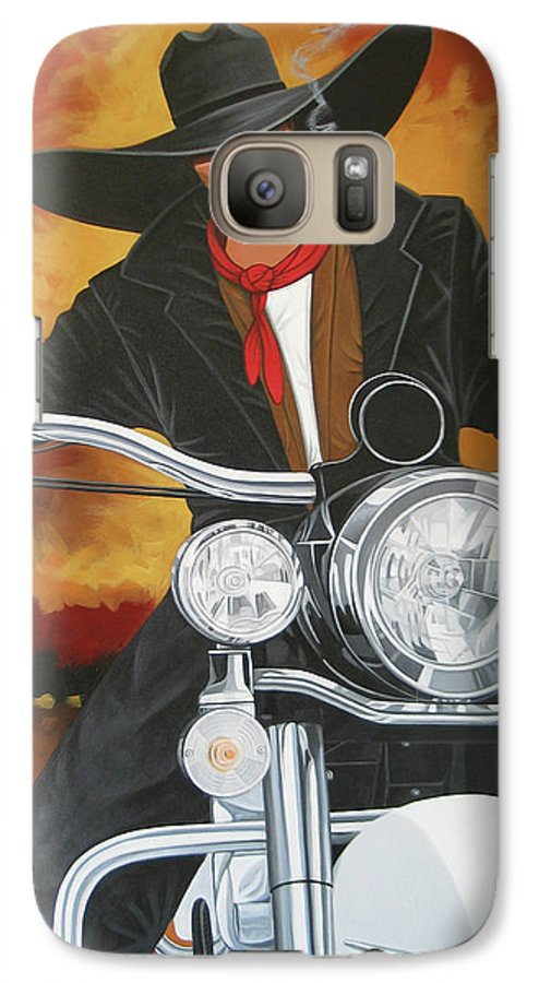Cowboy On Motorcycle Galaxy S7 Case featuring the painting Steel Pony by Lance Headlee