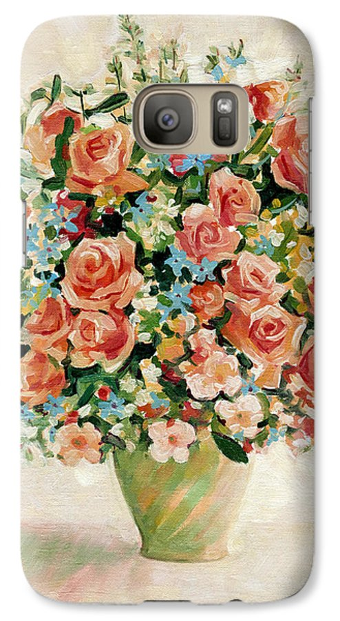Flowers Galaxy S7 Case featuring the painting Still Life With Roses by Iliyan Bozhanov