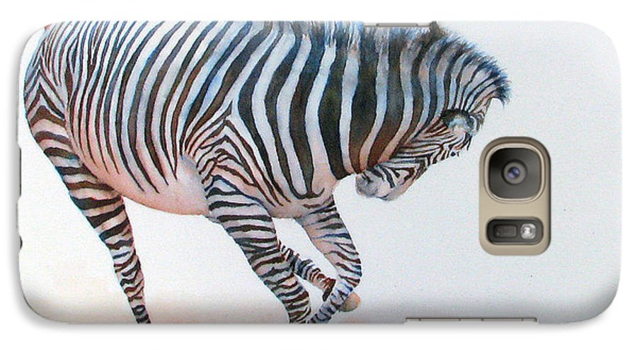 Zebra Galaxy S7 Case featuring the painting Stripes IIi by Patricia Henderson