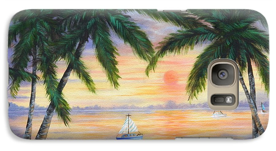 Seascape Galaxy S7 Case featuring the painting Summer Sunset by Ruth Bares