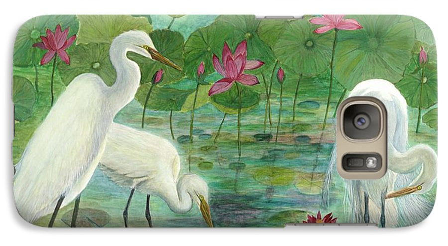 Lily Pads; Egrets; Low Country Galaxy S7 Case featuring the painting Summer Trilogy by Ben Kiger