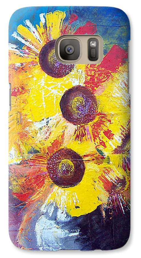 Flowers Galaxy S7 Case featuring the painting Sunflowers In Blue Vase by Valerie Wolf
