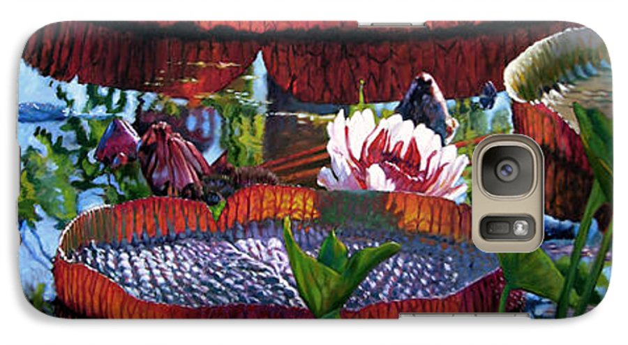 Garden Pond Galaxy S7 Case featuring the painting Sunlight Shining Through by John Lautermilch