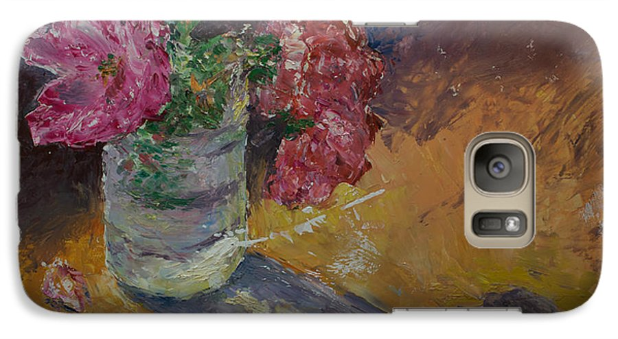 Oil Galaxy S7 Case featuring the painting Sunlit Roses by Horacio Prada