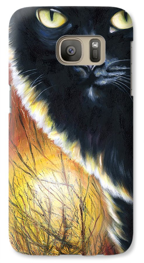 Cat Galaxy S7 Case featuring the painting Sunset by Hiroko Sakai