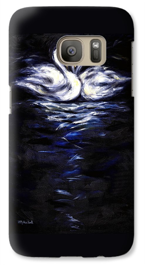 Bird Galaxy S7 Case featuring the painting Swan by Hiroko Sakai