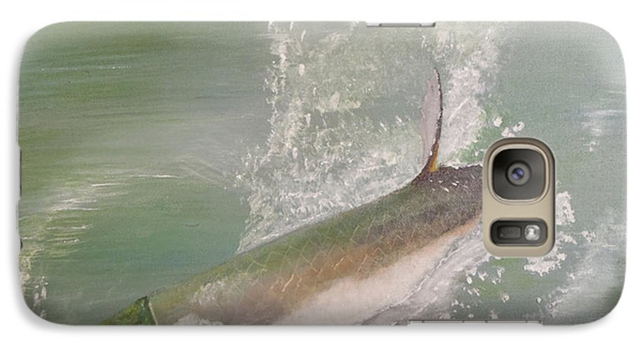 Tarpon Breaking Water Galaxy S7 Case featuring the painting Tarpon Breaking Water by Tony Rodriguez
