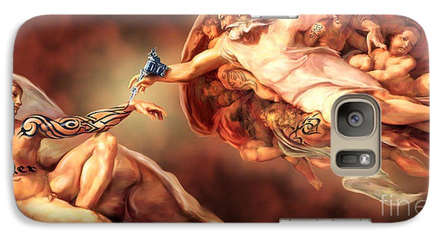 Creation Galaxy S7 Case featuring the painting Tattooed Creation By Spano by Michael Spano